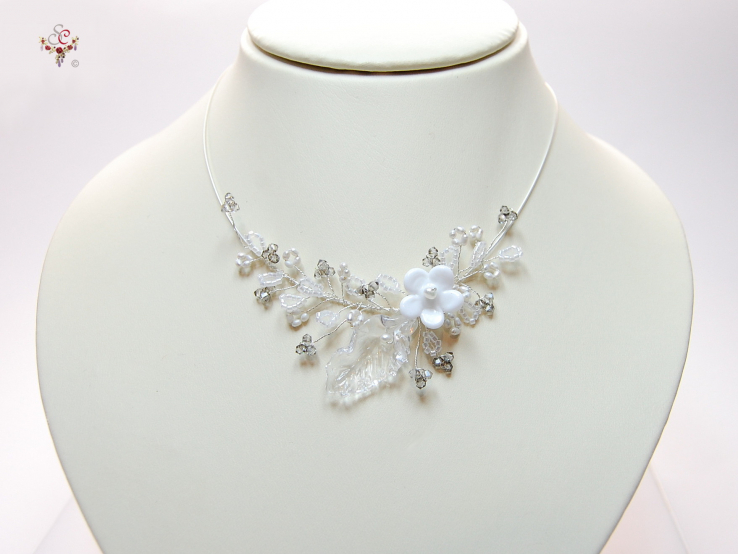 """No.130"" Crystall satin silver Collier"