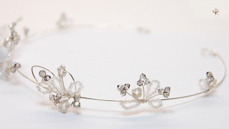 """No.130"" Crystall satin silver Diadem"